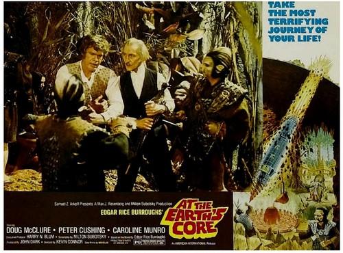 Peter Cushing Caroline Munro Doug McClure in Amicus Films 'At The Earth's Core' (1976) Lobby Card 1 petercushing.org.uk The UK Peter Cushing Appreciation Society